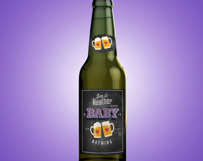 Personalized DIGITAL Beer Labels for Baby Showers, Weddings & Special Occasions, baby is brewing, baby and BBQ, beer and BBQ, coed shower