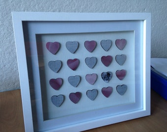 Anniversary / valentine framed heart personalised art
