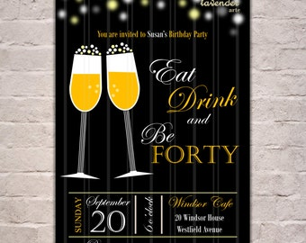 Adult Birthday Party Invitation, Eat Drink Be Merry Birthday Invite, Eat Drink Be Thirty, Adults Birthday Toast, Wine, 30th 40th 50th 60th