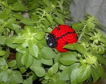 ladybug crochet brooch