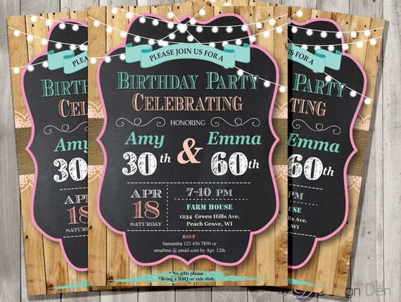 Invitation anniversaire mixte adultes. Chalkboard.Country