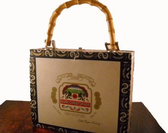 Vintage Cigar Purse with Bamboo Handle Leopard Lining