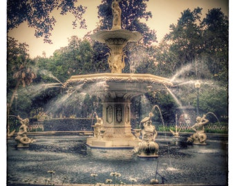 Blank Note Card, Forsyth Park Fountain in Savannah, Georgia