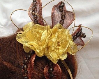 Brown and Gold  Fascinator Ideal for a Wedding/Bridal/Prom/Party