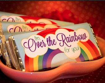 """Candy Bar Wrapper """"I'm Over the Rainbow for you"""" - Party or Valentine's Day Treat - DIY - Printable Wrapper"""