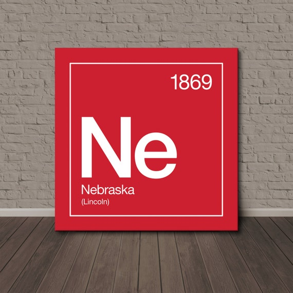 nebraska periodic table canvas wall art by sussieshome on etsy. Black Bedroom Furniture Sets. Home Design Ideas