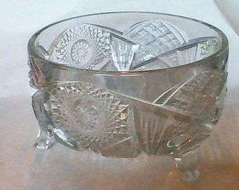 "McKee Glass Footed Fruit Bowl!! One of the ""Tec"" patterns!!!!"