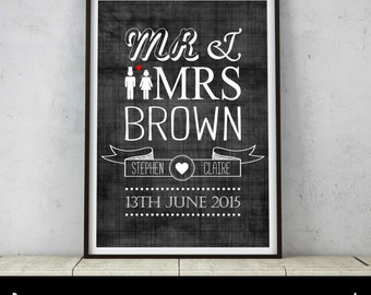 Unique Personalised Mr & Mrs Wedding Typography Picture Print Wedding Anniversary Gift Present