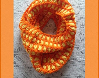 Aster Flower Knitted  Infinity Cowl, Yellow and Orange Long Woman Scarf, Neck Warmer, Women Neck Wrap