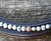 Pewter grey gray glass pearl beads browband for horses, for dressage or hunter disciplines