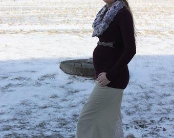Khaki Maternity Maxi Skirt, size 10