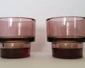 A pair of Purple plum amethyst colour thick glass tea light candle holders Scandinavian quality  boho retro