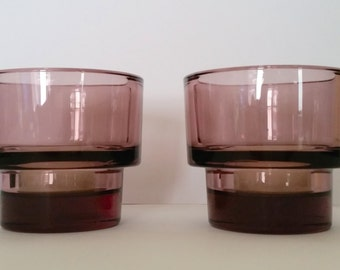 A pair of Purple plum amethyst colour thick glass tea light candle holders Scandinavian quality  boho retro