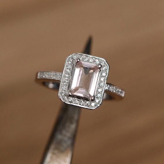 morganite ring engagement wedding ring emerald cut