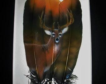 Deer & Forest - Russ Abbott - Original Hand Painted Three Feather