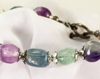 Multi Colored Flourite Bracelet with FREE matching Earrings