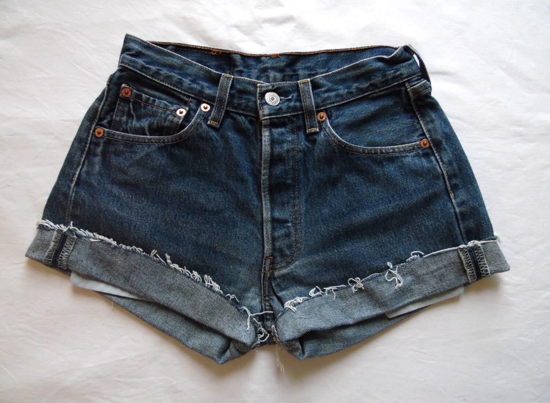 high waisted shorts vintage levis 501 denim dark by. Black Bedroom Furniture Sets. Home Design Ideas