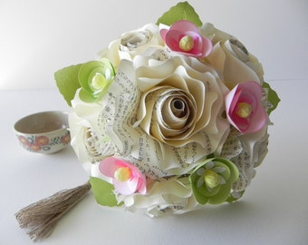 Japanese Inspired Bridesmaid Rose Bouquet - Japanese Wedding Bouquet Roses Cream Wedding flowers Bridal Alternative bouquet Origami bouquet