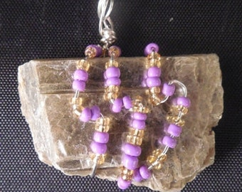 Mica Pendant with Purple and Gold Beads # 37