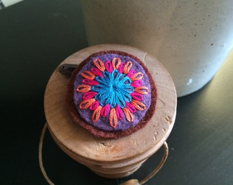 Hand Embroidered Flower Hair Clip