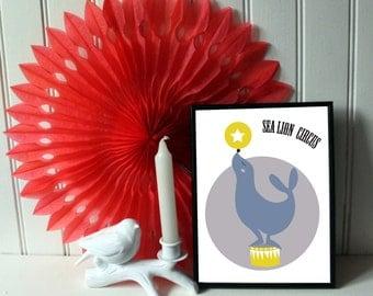 "A4 poster / children Illustration ""Sea Lion circus"" circus Collection"