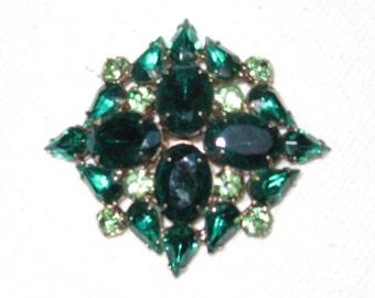 Vintage Jewelry, Green Rhinestone Juliana Brooch,  Early D&E?