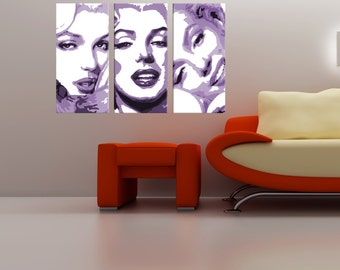 Marilyn Monroe ~ Hand Painted Canvas Acrylic Pop Art Oil Painting Gallery Wrapped Wall Art FRAMED