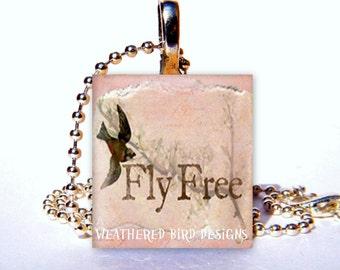 Scrabble Tile Pendant - Fly Free