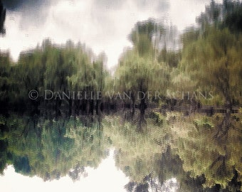Reflecting tree's in Dutch river, lake, pond, tree, green landscape, nature, digital photography, fine art, art, photography, mirror