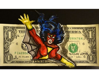 Spider-Woman painted on a dollar
