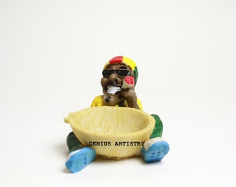 Jamaican Man Holding Ashtray Unique Art/Office/Home décor collectible handmade