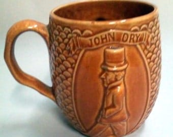 Vintage John Dry Willie Wet Brown Earthenware Mug