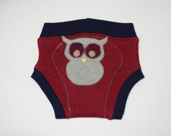 Felted Wool Diaper Soaker / Wool Nappy Cover / Owl Be Back / Cloth Diaper Cover /  Baby Gift / Interlock Waist & Cuffs / Upcycled