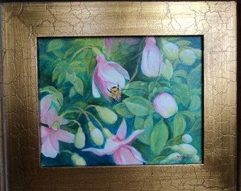 "Small Original Oil Painting Maine Bumblebee on Fuschia Flowers in Old Gold Frame 14x16"", ptg 8x10 N. Nadzo"