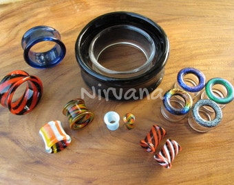 """Tunnels Pyrex Glass - One Pair Gauges 6g 4g 2g 0G 00g 7/16"""" 1/2"""" 9/16"""" 5/8"""" 4 mm 5 mm 6 mm 8 mm 9 mm 10 mm 12 mm up to 1"""" (25.4 mm)"""