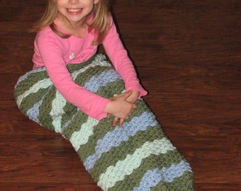CROCHET PATTERN - Mermaid Tail Afghan / Mermaid Blanket / Mermaid Cocoon with Smooth Scale Stitch / No Crocodile Stitch - CHILD Size