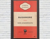 Penguin Books Mid Century Modern Print Classic Movie Poster — Rushmore Poster Wes Anderson Poster — Giclee Print Ikea Ribba Size Movie Print