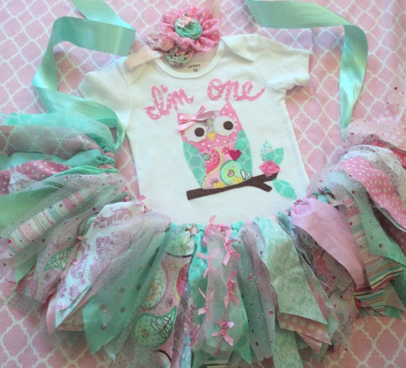 Owl 1st Birthday Outfit Girls Pink Mint Aqua Owl By