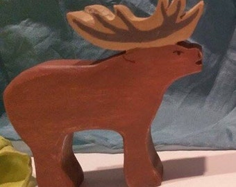 Wooden Deer Figure