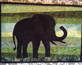 Elephant in the Grasslands - Quilted Wall Hanging