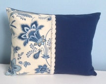 French Country pillow in the style of Pierre Deux. Blue and off white 12x16 lumbar. Decorator cotton throw pillow. Floral