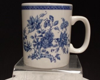 Beautiful Blue Transferware Mug; England