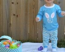 Monogrammed Applique Blue Stripe Spring and Easter Pajamas
