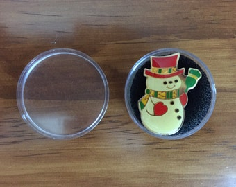 Vintage 1980s metal Christmas snowman pin with hard plastic case