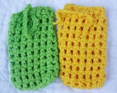 Crocheted Soap Bags, Cotton Soap Savers, Set of Two (2), All Cotton, Green and Yellow, Soap Pouches, Eco-friendly, Exfoliating