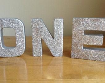 Silver Glitter Letters, ONE Freestanding/Stand-alone Silver Letters, 1st Birthday Party Decor, Silver Paper Mâché Letters