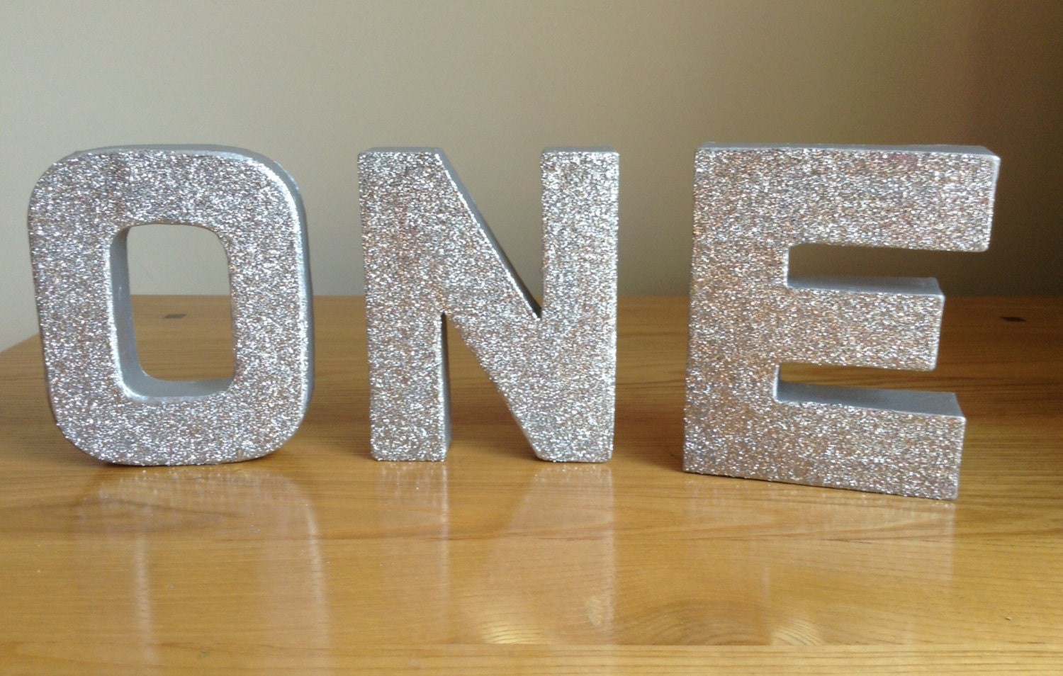 Silver glitter letters one freestanding stand alone by for Silver letters freestanding