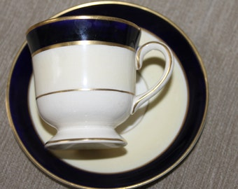 SALE Vintage baby child's tea cup and saucer - Ambassador Ware England Fondeville Home Decoration Kids Room and Collectible Blue, Gold Trim