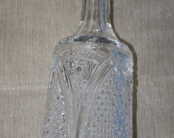 SALE   Vintage Barware - Crystal Glass - Heavy Glass - Metal Cap - Beautiful Design - 11 inches tall - Liquor Decanter - Alcohol - Elegant