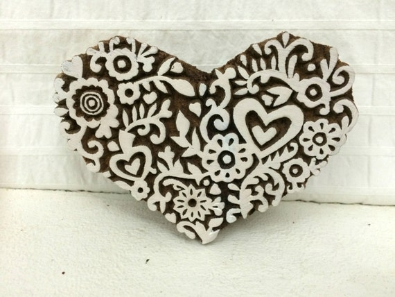 Heart stamp wood carved by thewhitepetalsart